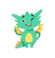 Little Anime Style Baby Dragon Winking And Showing vector image vector image