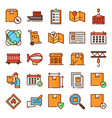 logistic icons pack vector image vector image