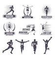 logos or labels for runners marathon graphics vector image