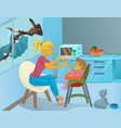nanny in the kitchen is feeding the child vector image vector image