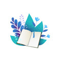 open book and blue leaves flat vector image vector image