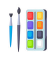 palette with paints and two brushes icons vector image vector image