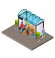people are waiting for bus at bus stop vector image