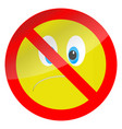prohibition of bad mood symbol vector image vector image