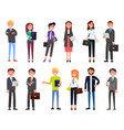 set business people characters dressed formally vector image vector image