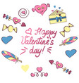 set of valentine s day elements isolated on white vector image vector image