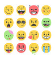 set smile emoji pretty trendy faces vector image