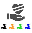 sick heart care hand flat icon vector image vector image