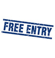 square grunge blue free entry stamp vector image vector image