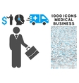 Standing Businessman Icon with 1000 Medical vector image