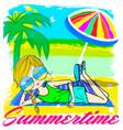 summer kids girl tee graphic design vector image