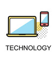 technology icons for business on white background vector image vector image