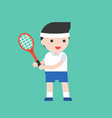 tennis player with racket cute character vector image vector image