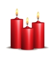Three red burning candles on white background vector | Price: 1 Credit (USD $1)