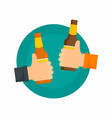 two hands and beer bottles background flat style vector image