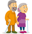 two old people holding hands - grandmother and gra vector image vector image