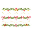 watercolor christmas set borders of vector image vector image
