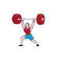 Weightlifter Lifting Barbell Isolated Cartoon vector image vector image