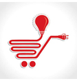 Wired Shopping Cart Icon with bulb and plug vector image vector image