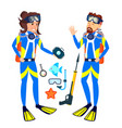 woman and man in diving masks isolated vector image
