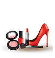 woman make up set with red high heel shoe vector image