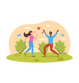 young couple in love is running in park together vector image