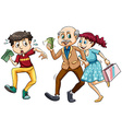 Young man and old man with money vector image vector image