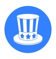 Uncle Sam s hat icon in black style isolated on vector image