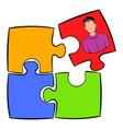 businessman in a puzzle piece icon cartoon vector image