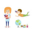 Kids doing different activities-painting and study vector image