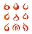 set of gradient fire logo vector image