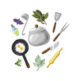 a set for cooking eggs greenery hand drawn on vector image vector image