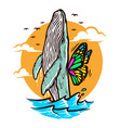 a whale wants to fly vector image vector image