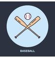 Baseball softball line icon Bats and ball vector image vector image