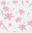 blossom floral seamless pattern lily flowers with vector image vector image