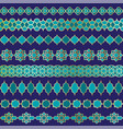 blue and gold moroccan border patterns vector image vector image