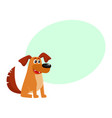 brown funny house dog puppy character sitting vector image vector image