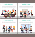 business meeting banners with office workers set vector image vector image