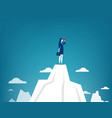 businesswoman standing on top of the mountain vector image vector image