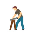 carpenter sawing wood board male construction vector image vector image