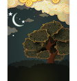 Cartoon landscape Tree clouds and moon vector image