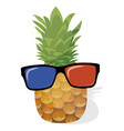 cartoon pineapple in glasses vector image vector image