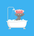 cat in bath pet is washed vector image