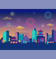chinese new year - city landscape with colorful vector image