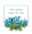 Christmas and Happy New Year Card with Blue Balls