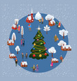 christmas and new year winter village rural vector image vector image