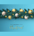 christmas pine tree wreath and gold ornament card vector image vector image