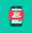 coffee cup on mobile phone vector image vector image