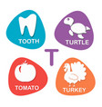 cute alphabet in t letter for tooth vector image vector image