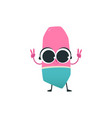 cute eraser cartoon character with peace hand vector image vector image